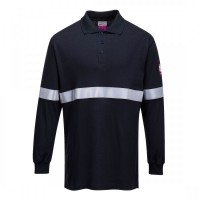 Flame Resistant Anti-Static Long Sleeve Polo Shirt with Reflective Tape