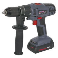 Cordless Hammer Drill/Driver 13mm 18V Lithium-ion Super Torque 1hr Charge - 2 Batteries