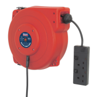 Cable Reel System Retractable 15m 2 x 230V Socket