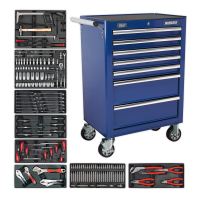 7 Drawer Rollcab with 156pc Tool Kit - Blue