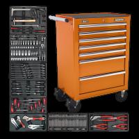 7 Drawer Rollcab with 156pc Tool Kit - Orange