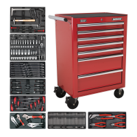 7 Drawer Rollcab with 156pc Tool Kit - Red