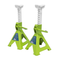 Axle Stands (Pair) 2tonne per Stand Ratchet Type Hi-Vis Grn